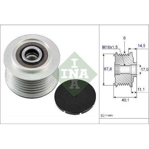 Alternator Freewheel Clutch INA 535 0052 10 VOLVO VW