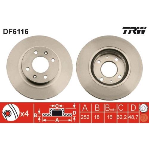 Brake Disc TRW DF6116 HYUNDAI KIA