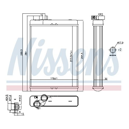 Heat Exchanger, interior heating NISSENS 70231 AUDI
