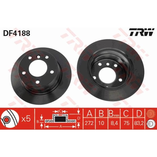 TRW Brake Disc DF4188
