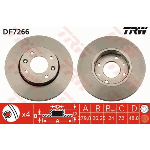 TRW Brake Disc DF7266