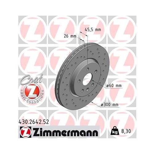 Brake Disc ZIMMERMANN 430.2642.52 SPORT BRAKE DISC COAT Z GENERAL MOTORS