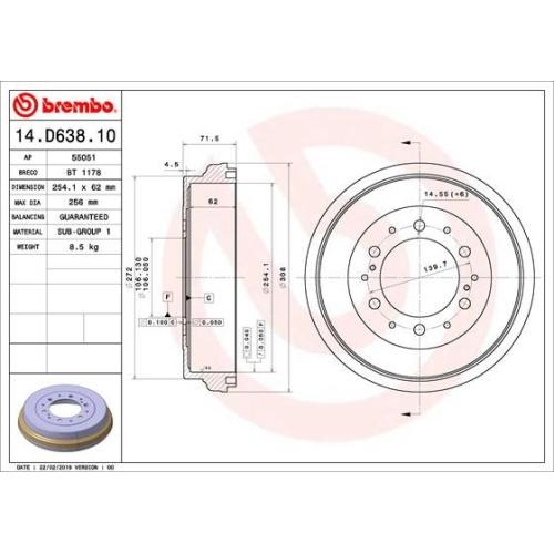 Bremstrommel BREMBO 14.D638.10 TOYOTA