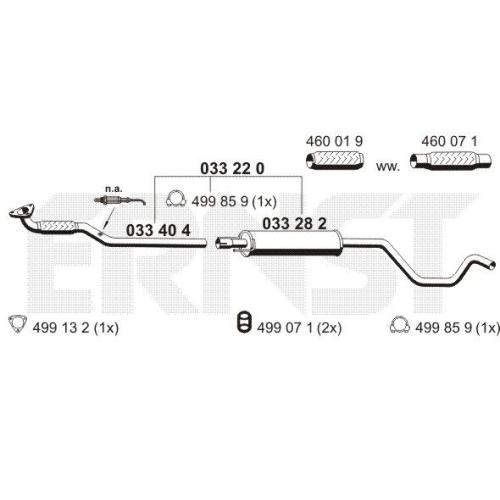 Middle Silencer ERNST 033220 Set OPEL GENERAL MOTORS