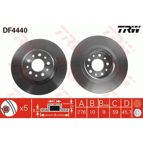 Brake Disc TRW DF4440 ALFA ROMEO
