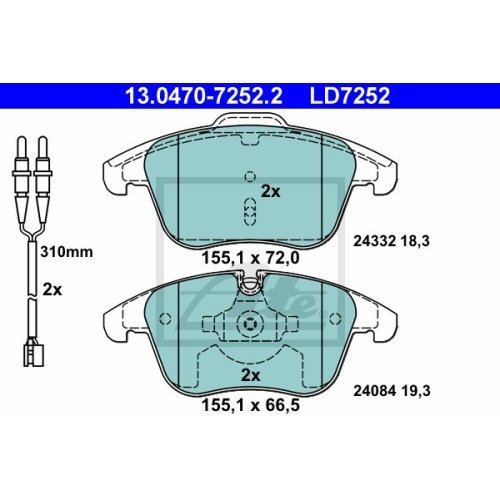 Brake Pad Set, disc brake ATE 13.0470-7252.2 ATE Ceramic CITROËN PEUGEOT