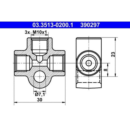 Verbindungs-/Verteilerstück, Rohrleitungen ATE 03.3513-0200.1 BMW FORD PORSCHE