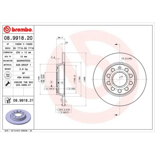 Bremsscheibe BREMBO 08.9918.21 COATED DISC LINE AUDI VW