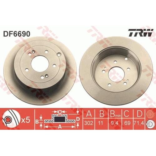 TRW Brake Disc DF6690