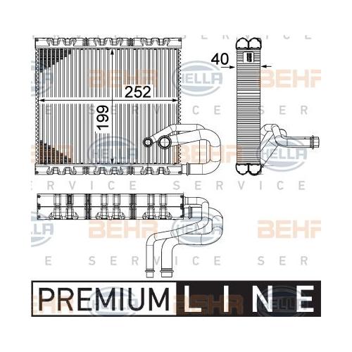 Verdampfer, Klimaanlage HELLA 8FV 351 331-131 MERCEDES-BENZ VW