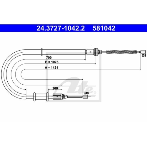 ATE Cable, parking brake 24.3727-1042.2