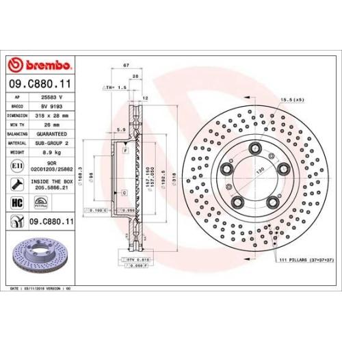 Brake Disc BREMBO 09.C880.11 COATED DISC LINE PORSCHE