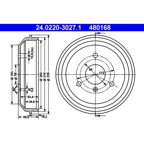 Brake Drum ATE 24.0220-3027.1 SMART