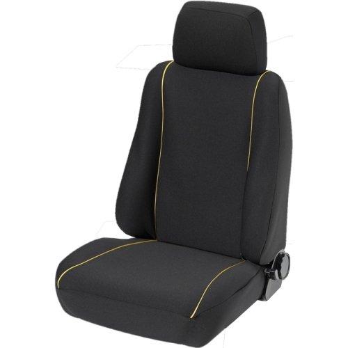 SCHOENEK 1340032008 Vordersitzbezug Basis schwarz mit gelben Biesen, 2-teilig