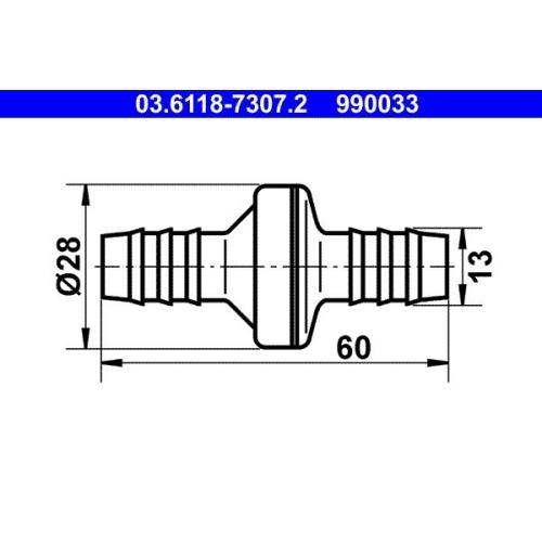 Ventil, Unterdruckleitung ATE 03.6118-7307.2 BMW BUESSING DAF FIAT FORD HANOMAG