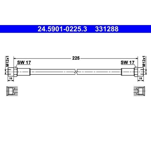 Kupplungsschlauch ATE 24.5901-0225.3 MERCEDES-BENZ
