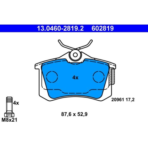 Brake Pad Set, disc brake ATE 13.0460-2819.2 CITROËN FIAT FORD PEUGEOT SEAT VAG