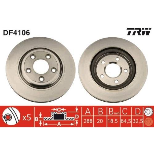 Brake Disc TRW DF4106 DAIMLER JAGUAR