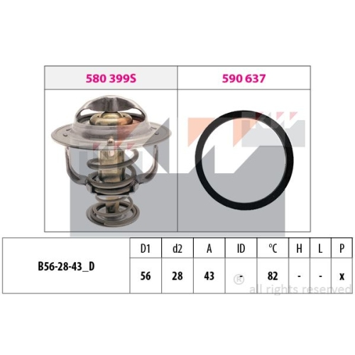 Thermostat, coolant KW 580 522 Made in Italy - OE Equivalent NISSAN TOYOTA LEXUS