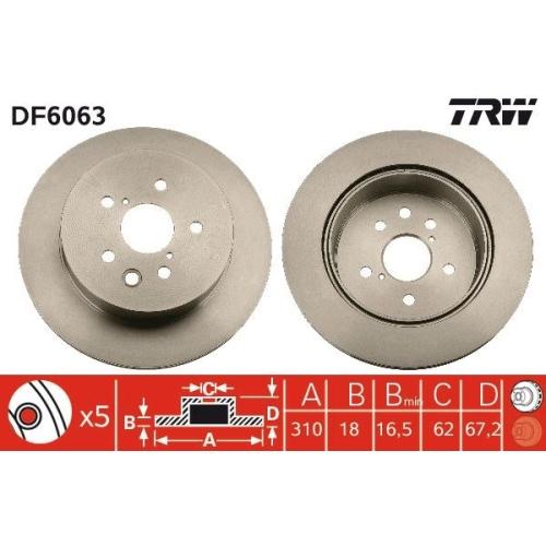 Brake Disc TRW DF6063 TOYOTA LEXUS TOYOTA (FAW)