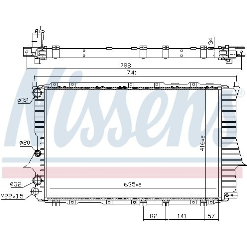 Radiator, engine cooling NISSENS 60460 AUDI