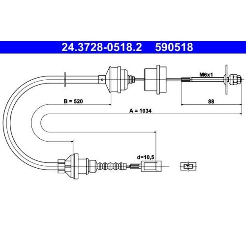 Seilzug, Kupplungsbetätigung ATE 24.3728-0518.2 CITROËN FIAT PEUGEOT