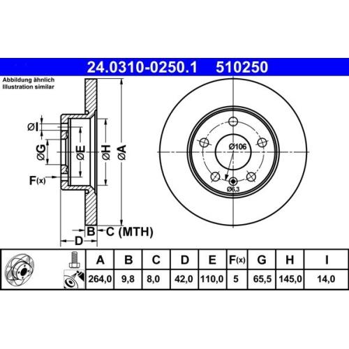 Bremsscheibe ATE 24.0310-0250.1 PowerDisc OPEL VAUXHALL CHEVROLET