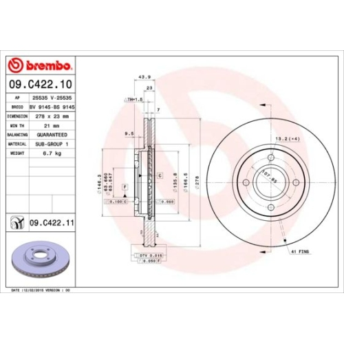 Bremsscheibe BREMBO 09.C422.11 COATED DISC LINE FORD