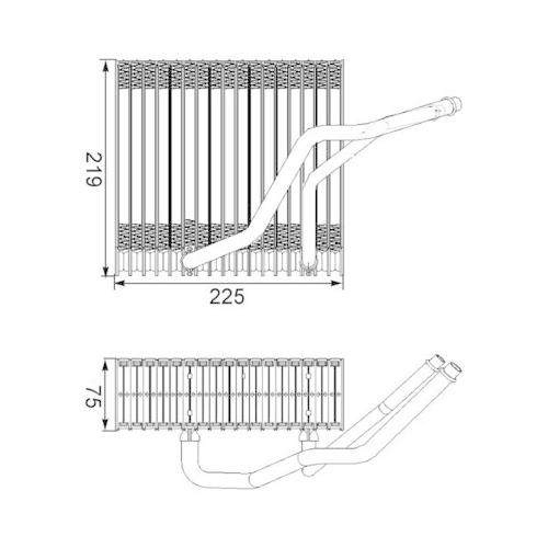 Evaporator, air conditioning MAHLE AE 38 000S AUDI VAG VW (FAW) CUPRA