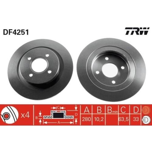 Brake Disc TRW DF4251 FORD