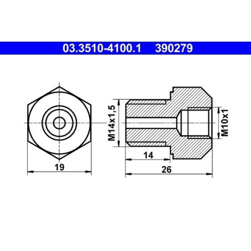 Adapter, Bremsleitung ATE 03.3510-4100.1 HANOMAG KÄSSBOHRER MAGIRUS-DEUTZ