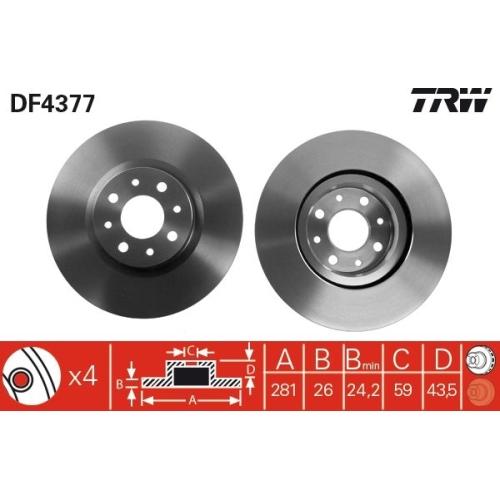 Brake Disc TRW DF4377 ALFA ROMEO CHRYSLER FIAT LANCIA