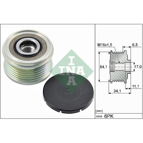 Alternator Freewheel Clutch INA 535 0179 10 CITROËN PEUGEOT