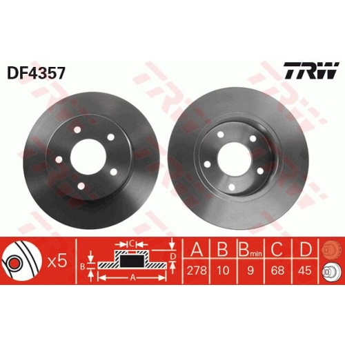 Brake Disc TRW DF4357 NISSAN
