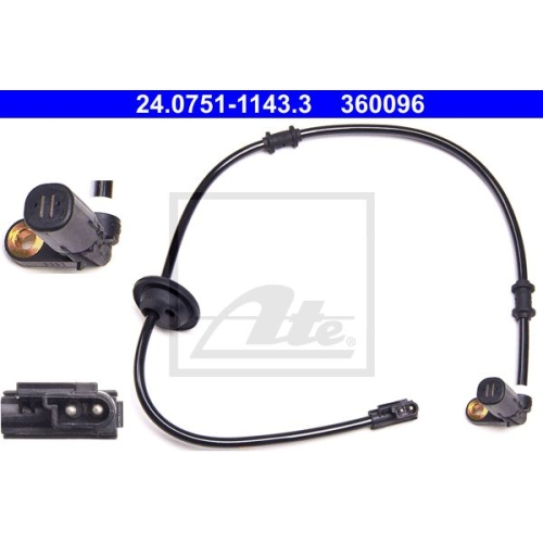 Sensor, Raddrehzahl ATE 24.0751-1143.3 MERCEDES-BENZ