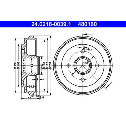 Bremstrommel ATE 24.0218-0039.1 OPEL SUZUKI VAUXHALL