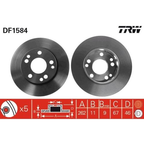 Brake Disc TRW DF1584 MERCEDES-BENZ
