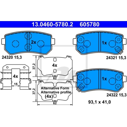 Brake Pad Set, disc brake ATE 13.0460-5780.2 HYUNDAI KIA