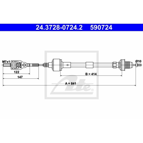 ATE Clutch Cable 24.3728-0724.2