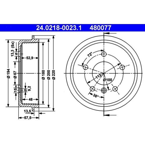 24.0222-9701.2 2x Bremstrommel ATE
