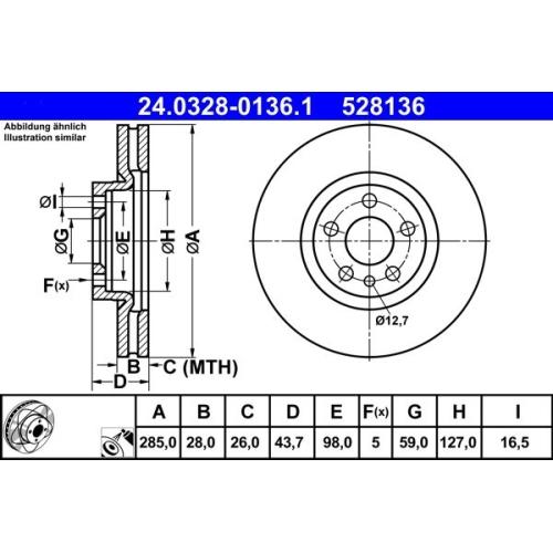 Brake Disc ATE 24.0328-0136.1 PowerDisc CITROËN FIAT PEUGEOT