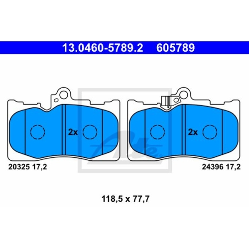 Brake Pad Set, disc brake ATE 13.0460-5789.2 LEXUS