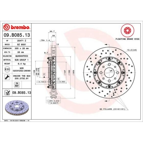 Bremsscheibe BREMBO 09.B085.13 TWO-PIECE FLOATING DISCS LINE ABARTH
