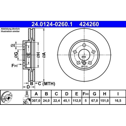 Bremsscheibe ATE 24.0124-0260.1 BMW MINI