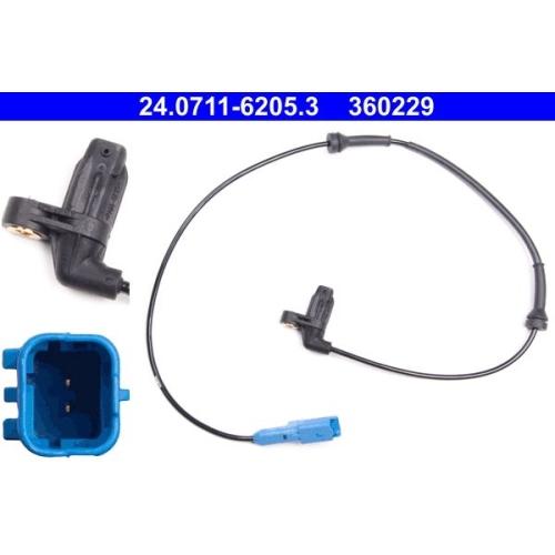 Sensor, Raddrehzahl ATE 24.0711-6205.3 PEUGEOT