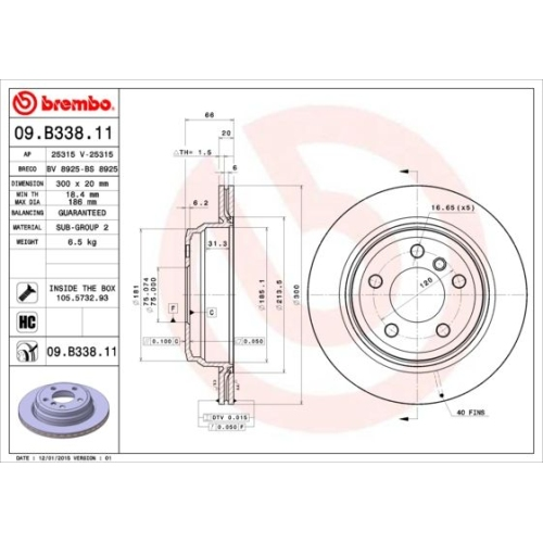 Bremsscheibe BREMBO 09.B338.11 COATED DISC LINE BMW