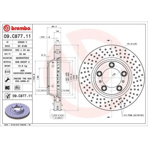 Bremsscheibe BREMBO 09.C877.11 COATED DISC LINE PORSCHE