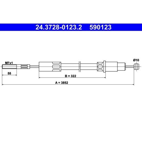 Seilzug, Kupplungsbetätigung ATE 24.3728-0123.2 VAG
