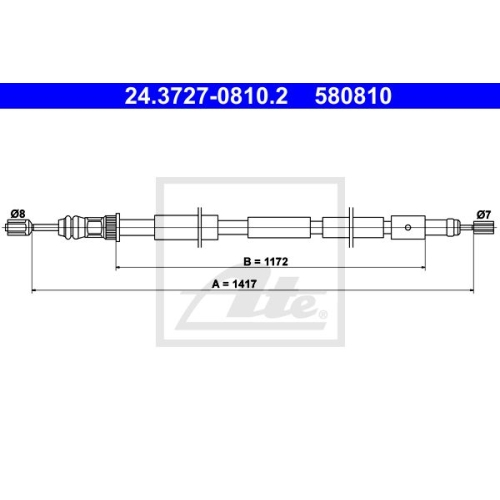 ATE Cable, parking brake 24.3727-0810.2