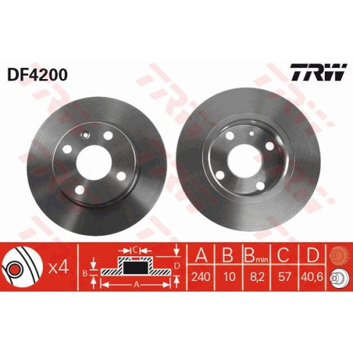 TRW Brake Disc DF4200